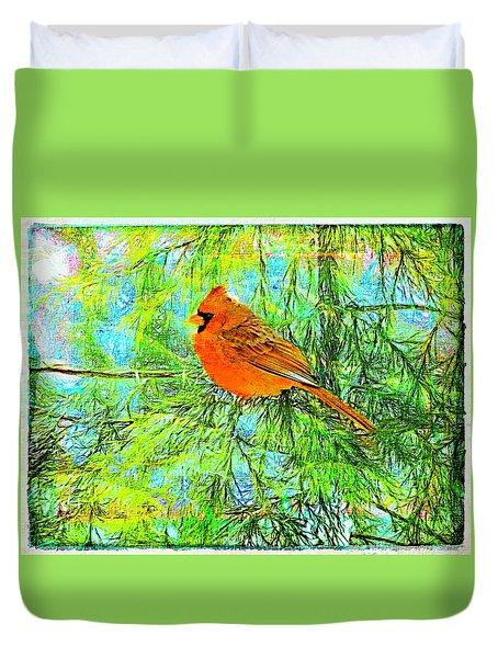Male Cardinal In Juniper Tree Duvet Cover