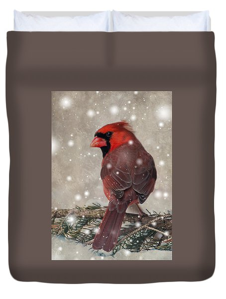 Male Cardinal In Snow #1 Duvet Cover
