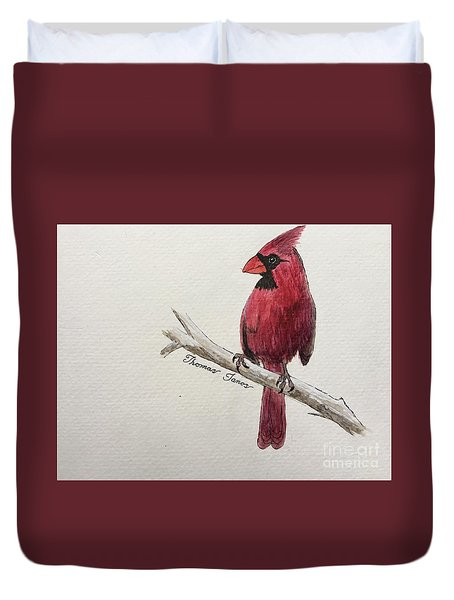 Male Cardinal In Winter Duvet Cover