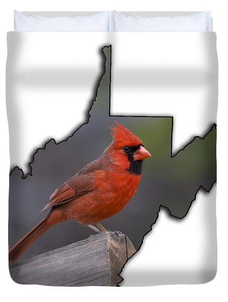 Male Cardinal Perch  Duvet Cover