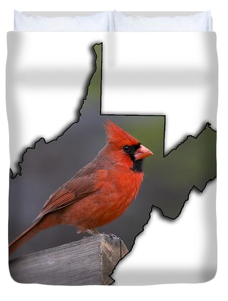 Male Cardinal Perched On Rail Duvet Cover