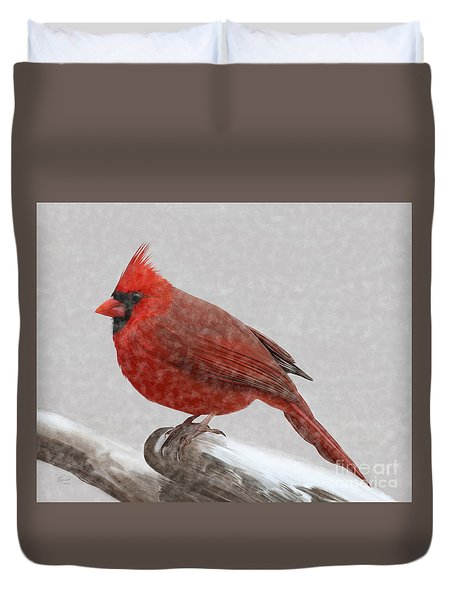 Duvet Cover featuring the painting Male Cardinal In Snow by Rand Herron