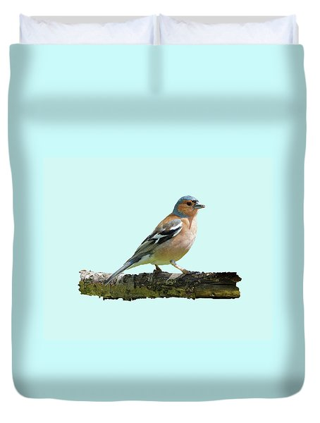 Duvet Cover featuring the photograph Male Chaffinch, Blue Background by Paul Gulliver