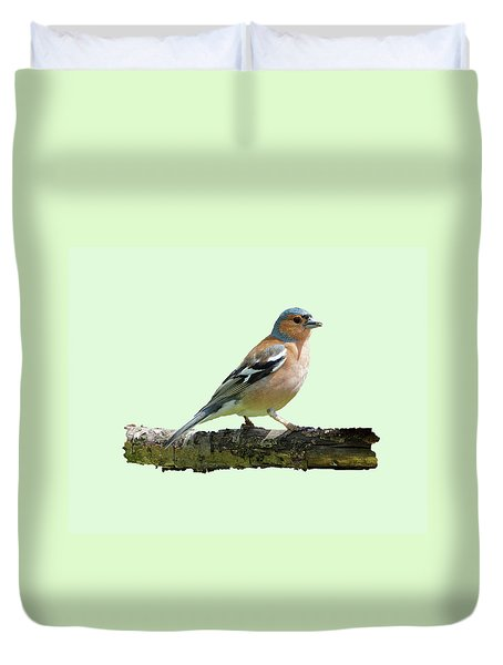 Duvet Cover featuring the photograph Male Chaffinch, Green Background by Paul Gulliver