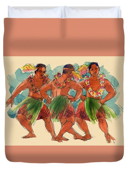 Duvet Cover featuring the painting Male Dancers Of Lifuka, Tonga by Judith Kunzle