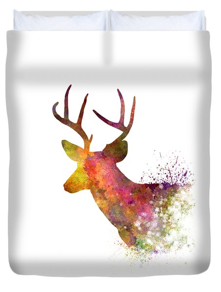 Male Deer 02 In Watercolor Duvet Cover by Pablo Romero