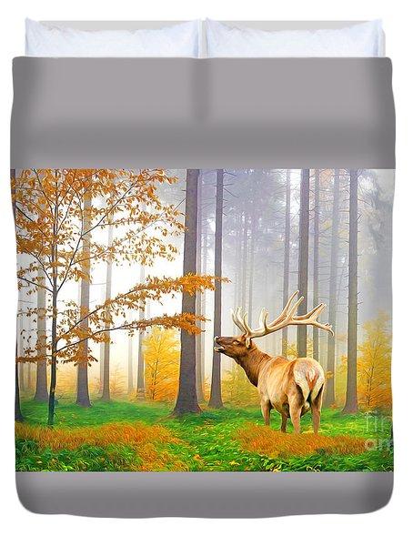 Male Elk Bugling Duvet Cover