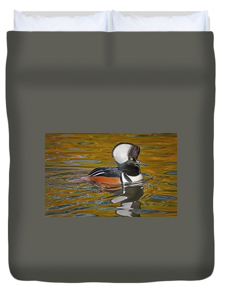 Duvet Cover featuring the photograph Male Hooded Merganser Duck by Susan Candelario