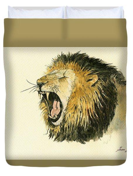 Male Lion Head Painting Duvet Cover