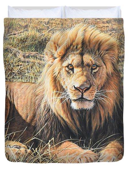 Male Lion Portrait Duvet Cover