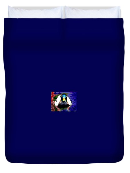 Male Mallard Duvet Cover by Charles Shoup