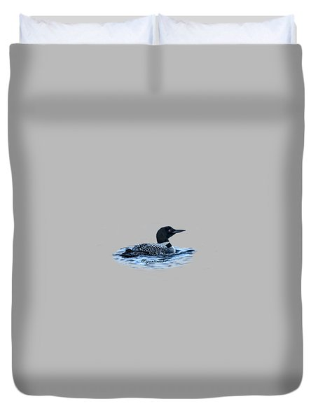Male Mating Common Loon Duvet Cover