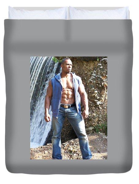 Male Muscle Art Titan Duvet Cover by Jake Hartz
