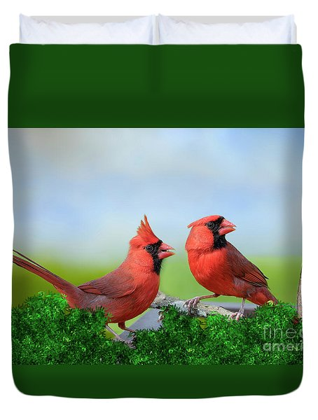 Male Northern Cardinals In Spring Duvet Cover by Bonnie Barry