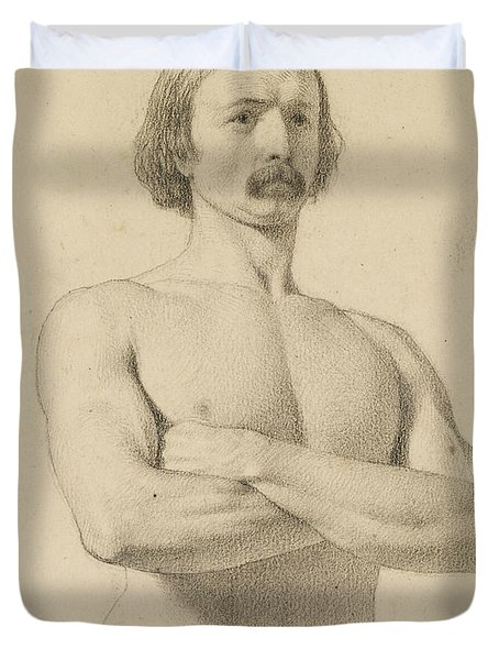 Male Nude - Academic Nude Study, Half-length With Moustache And Arms Folded  Duvet Cover