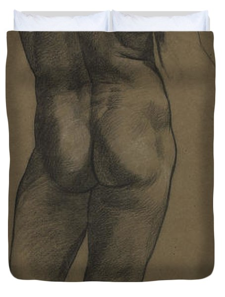 Male Nude Study Duvet Cover by Evelyn De Morgan