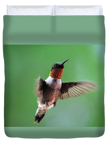 Male Ruby-throated Hummingbird Duvet Cover