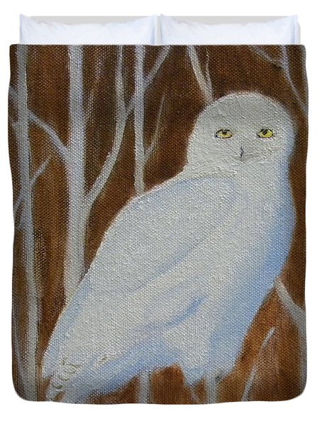 Male Snowy Owl Portrait Duvet Cover