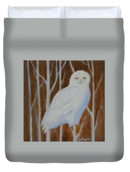 Male Snowy Owl Portrait Duvet Cover