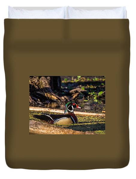 Duvet Cover featuring the photograph Male Wood Duck by Gregory Daley  PPSA