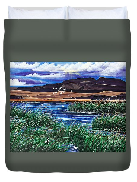 Malhuer Bird Refuge Duvet Cover