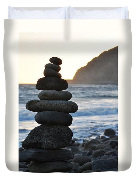 Duvet Cover featuring the photograph Malibu Balanced Rocks by Kyle Hanson