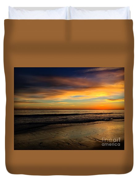 Malibu Beach Sunset Duvet Cover by Chris Tarpening