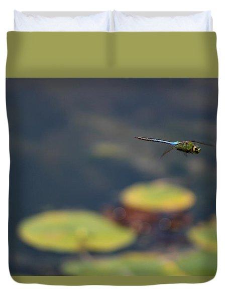 Malibu Blue Dragonfly Flying Over Lotus Pond Duvet Cover