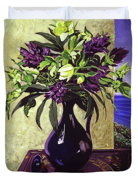 Malibu Hyacinths In Deep Blue Blue  Ceramic Duvet Cover