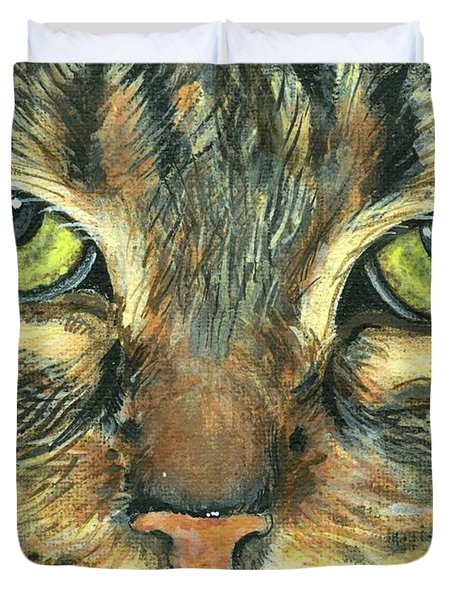 Duvet Cover featuring the painting Malika by Mary-Lee Sanders