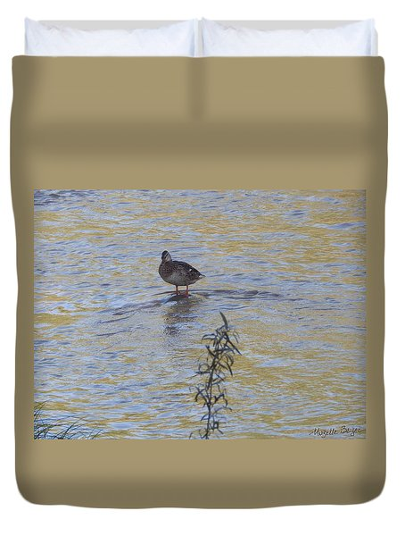 Mallard And The Branch Duvet Cover