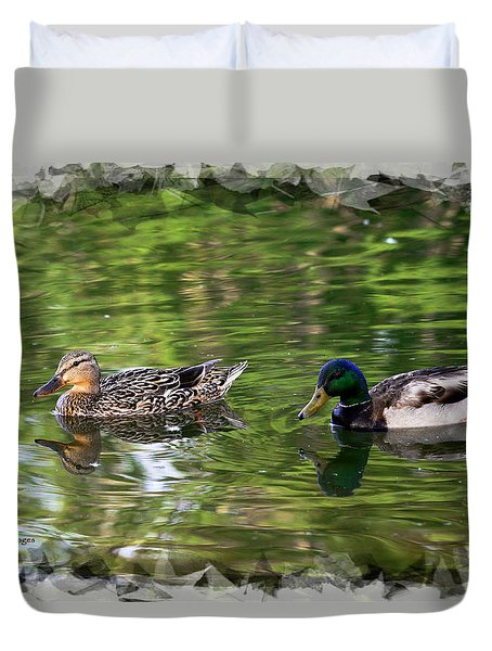 Mallard Couple On A Pond Duvet Cover