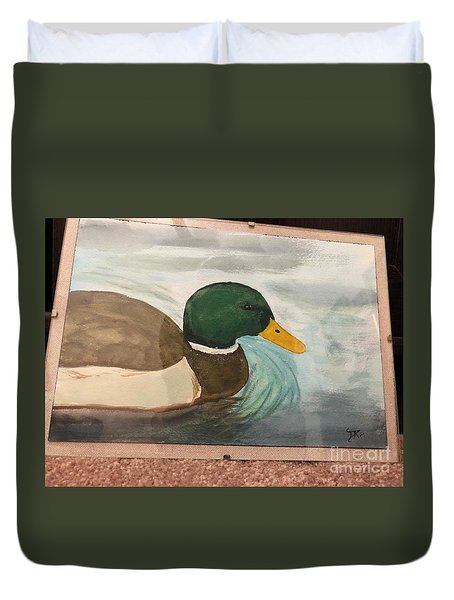Duvet Cover featuring the painting Mallard by Donald Paczynski