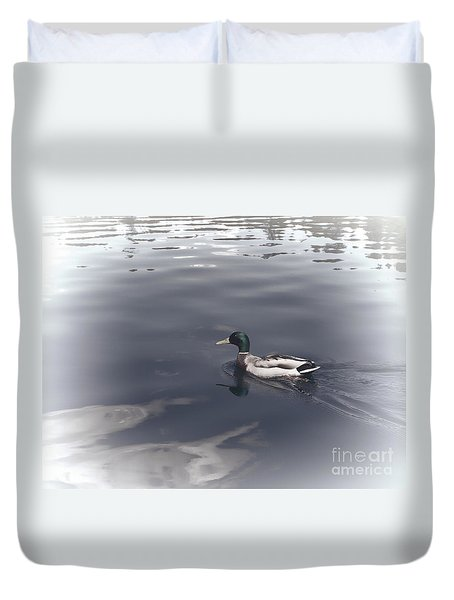 Duvet Cover featuring the photograph Mallard Drake by Erica Hanel