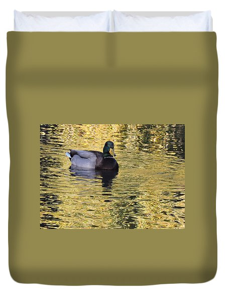 Mallard Drake On Gold Duvet Cover