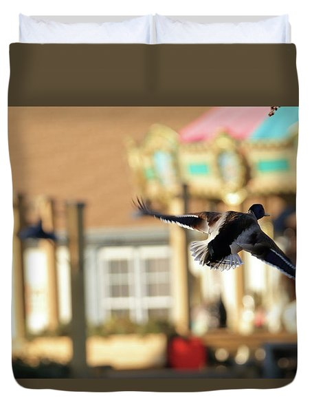 Mallard Duck And Carousel Duvet Cover by Geraldine Scull