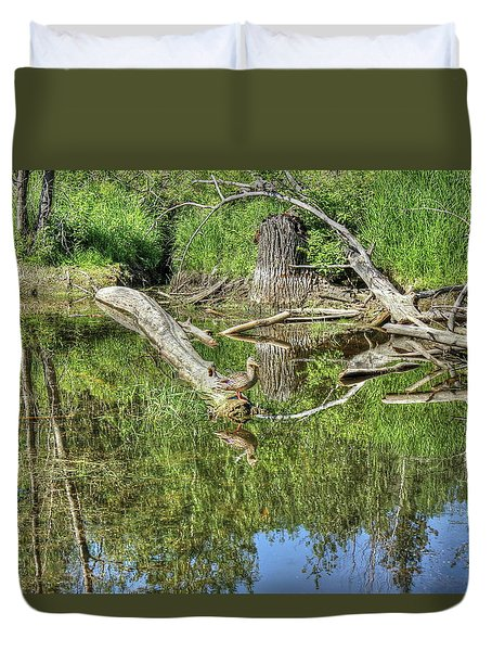 Duvet Cover featuring the photograph Mallard Duck by Jim Sauchyn
