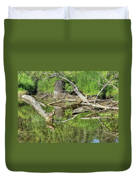 Duvet Cover featuring the photograph Mallard Duck On Pond by Jim Sauchyn