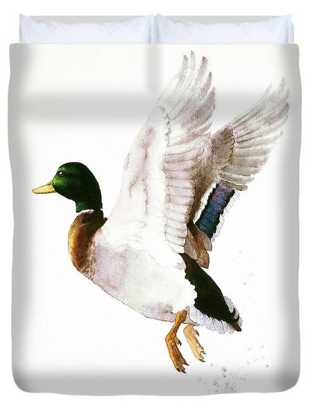 Mallard Flying Away Watercolor Duvet Cover