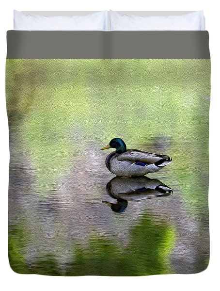 Duvet Cover featuring the photograph Mallard In Mountain Water by Mark Myhaver