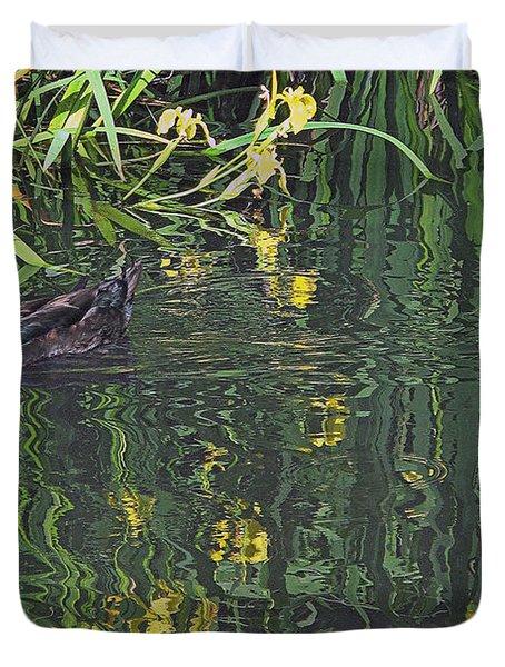 Mallard In The Marsh Duvet Cover