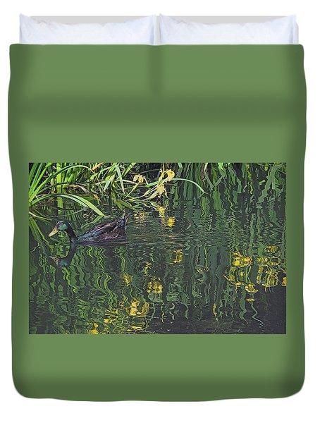 Mallard In The Marsh Duvet Cover by Suzy Piatt