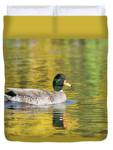 Mallard In Yellow Duvet Cover