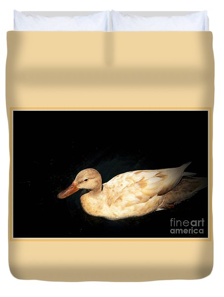 Duvet Cover featuring the photograph Mallard Of A Different Color by Pamela Blizzard