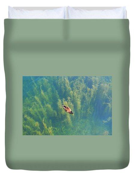 Mallard Over Seaweed Duvet Cover