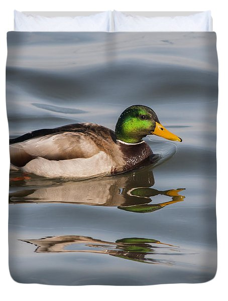 Mallards And Reflection Duvet Cover