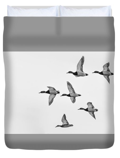 Duvet Cover featuring the photograph Mallards by Dan Traun