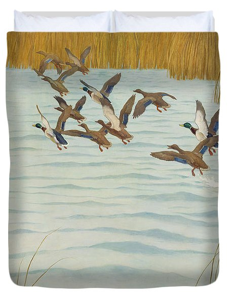 Mallards In Autumn Duvet Cover