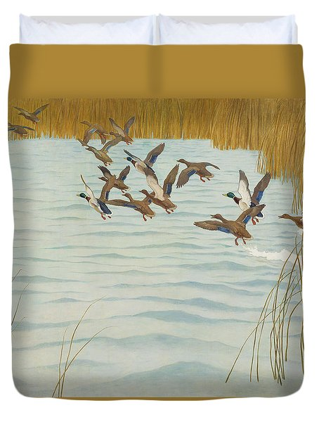 Mallards In Autumn Duvet Cover by Newell Convers Wyeth