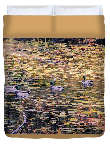 Mallards On Autumn Pond Duvet Cover